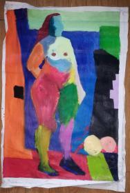 手绘布面油画:无款20190522-15(抽象人物 80x60)