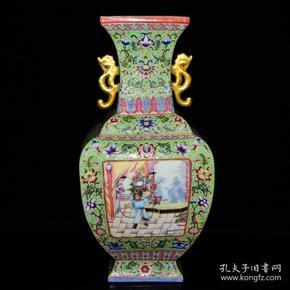 清雍正珐琅彩人物纹鎏金四方瓶