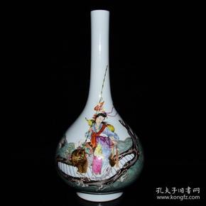 清雍正年粉彩麻姑献寿纹鹅颈瓶