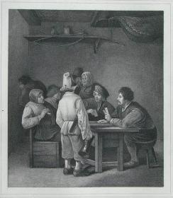 """1869年维也纳画廊钢板画系列 —《玩牌》 """"Cornelius Bega""""作品26.5x21.5cm"""