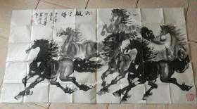 六骏呈祥  裴英民画马一幅  实物图