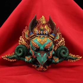漆器彩绘描金鹰神回复面具17x25