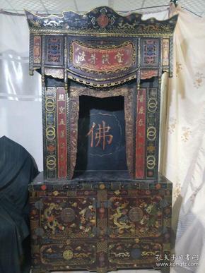 清代漆器佛龛,长1米2,宽48厘米,高2米2,运费自理。