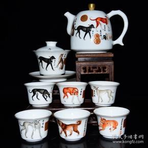清雍正年珐琅彩十犬图纹茶具一套