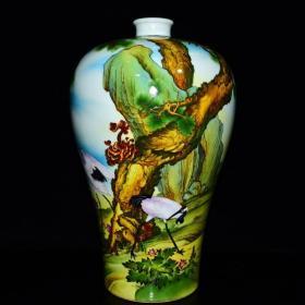 清雍正年珐琅彩仙鹤纹梅瓶