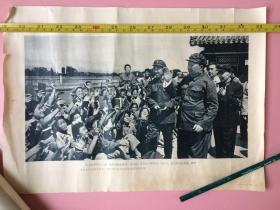画,保真!毛主席接见检阅红卫兵,伟大的导师毛主席,我们无限热爱您,8开。