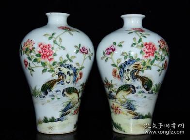 清雍正年珐琅彩花鸟纹梅瓶