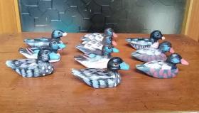 10只老的手工彩绘木头小鸭子