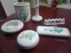 中国群力双凤款---强化国玉瓷《醴陵釉下彩瓷----7件一套》私藏品好   特别稀缺