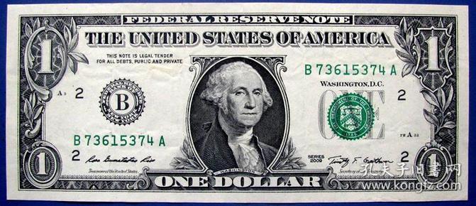 全新09版1美元B73615374A纸币--全新美元、美金甩卖--实物拍照--永远保真