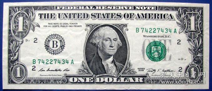 全新09版1美元B74227434A纸币--全新美元、美金甩卖--实物拍照--永远保真