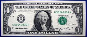 全新09版1美元G50642036H纸币--全新美元、美金甩卖--实物拍照--永远保真