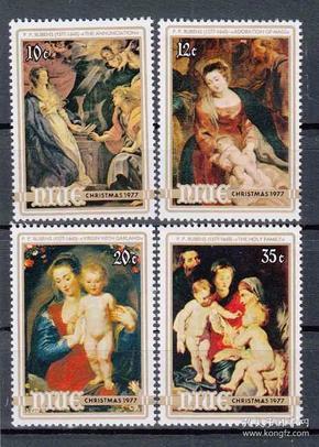 纽埃邮票 1977年 圣诞节 圣母子 4全新