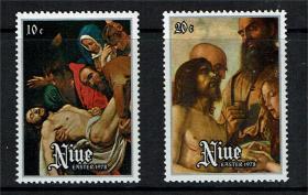 纽埃邮票 1978年 复活节 哀悼耶稣 2全新