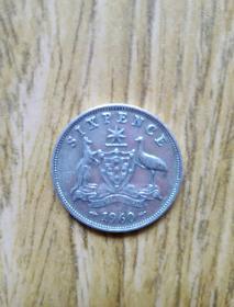 澳大利亚老银币: 6芒星守护币6便士(1960年)——幸运小银币 美品