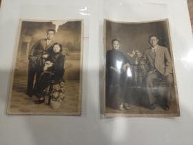 民国贵族家庭照片2张,清晰度极好相纸好,可惜品相差