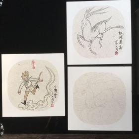 团面 装饰画 及绘画底版 三张