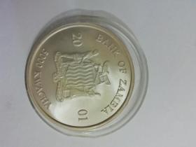 2001年赞比亚非洲大象亚光磨砂本色银币