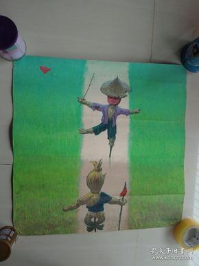 江西著名画家刘世群水粉画:春(又名:苗田卫士)