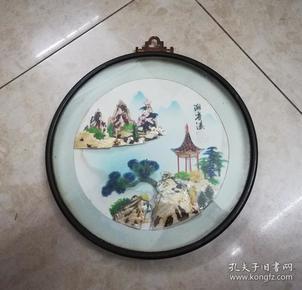 精美雅致的文革山水纹贝雕圆挂画