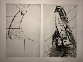 《雷昂纳多 达芬奇》双画面。法国版画家——伊普斯泰格 让 罗伯特作品