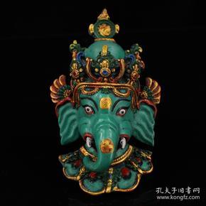 尼泊尔纯手工彩绘描漆器象鼻财神头挂像     可挂墙镇宅辟邪     重200克    高16.5厘米   宽10厘米