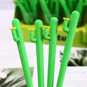 品目文具 可爱绿色仙人掌植物硅胶仿真中性笔 学生水笔黑色0.5mm