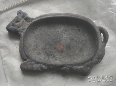 老物件,牛形,铁盘子,铁煎锅,铁底座,不知什么用途