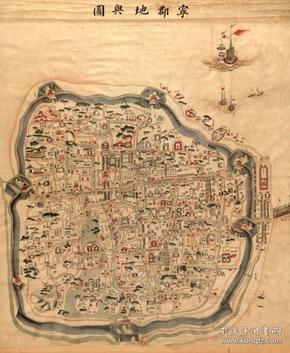 《宁波老地图》1846年宁波街道详图,开幅巨大100*84CM,原图高清复制。裱框后,风貌好。