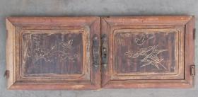 清代民国时期花卉纹柜门  1对2只,   很漂亮!