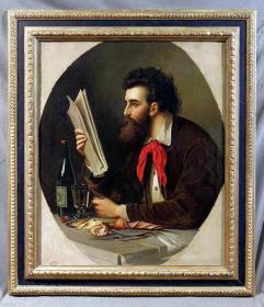 荷兰19世纪古董人物油画 尺寸:116.5×102CM 材质:布面油画 年代:1871 作者:(荷)拉奥雷齐 有作者签署,画布后衬,整体品相不错。