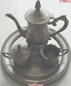 西洋 镀银咖啡具一套4件【一壶二杯一盘】