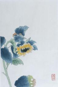 木版水印 瑞龄画作《向日葵》一幅(纸本托片,尺寸:36.6*24.9cm) HXTX103689