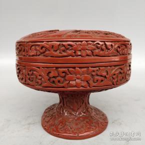 漆器盒 剔红漆器盒 精浮雕山水风景盒