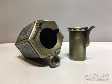景泰蓝六棱温酒壶一套,包浆自然,品相完好器型端庄,做工精细