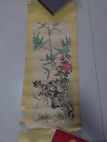 【竹子与牡丹花 手绘:王金海】