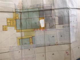 1868年古代日本家居建筑设计稿一张,粘有八卦相学风水地理纸,是民居建筑家相相学风水的融合。原版大开稿图,珍贵