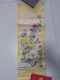 【奇菊径石.一九七八年 手绘:王金海】