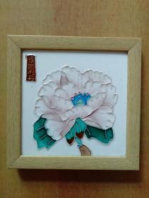 洛阳牡丹 白牡丹 瓷板画