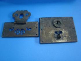 老铜箱柜锁具一套合售 {有铜绣 尺寸10cm×4.5cm+10cm×7.5cm}