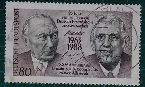 德国邮票----联邦德国总理阿登纳和法国总统戴高乐(信销票)