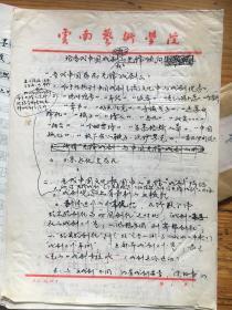 云南艺术学院院长吴卫民(笔名吴戈)。。。〈论当代中国戏剧舞台的先锋倾向〉。。。手写稿本4页.全
