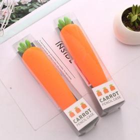 蓝果文具「拔萝卜」可爱胡萝卜仿真软硅胶异形笔袋化妆包学生礼物