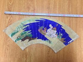 清代日本手绘《神话题材的神武天皇划着龙舟?》扇面一幅,彩绘,作者不详