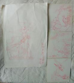 上海玉石雕刻厂薛卫群素描稿4张(尺寸:10.8X11.6CM与27.6X19.4CM)