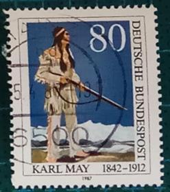 德国邮票------探险作家卡尔-梅小说温纳托乌(信销票)