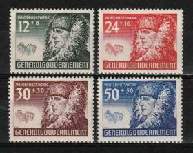 德国邮票 德占波兰 1940年 在波兰的全面战略 战争附加税 农民像 雕刻版  4全新