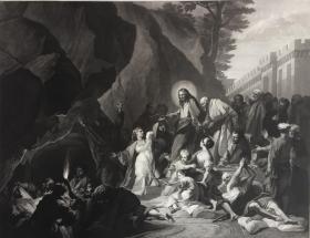 19世纪大型美柔汀铜版画《拉撒路的复活》82厘米*67厘米