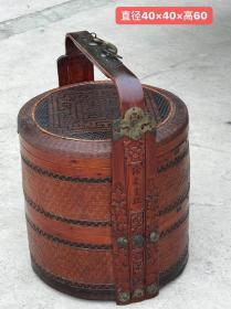 清末民初大户人家用的.镶花铜.雕花紫竹提篮一个.做工精细.包浆浑厚.保存完好.极为少见