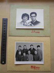老照片【70年代,结婚照,家庭合影】2张,有衬板